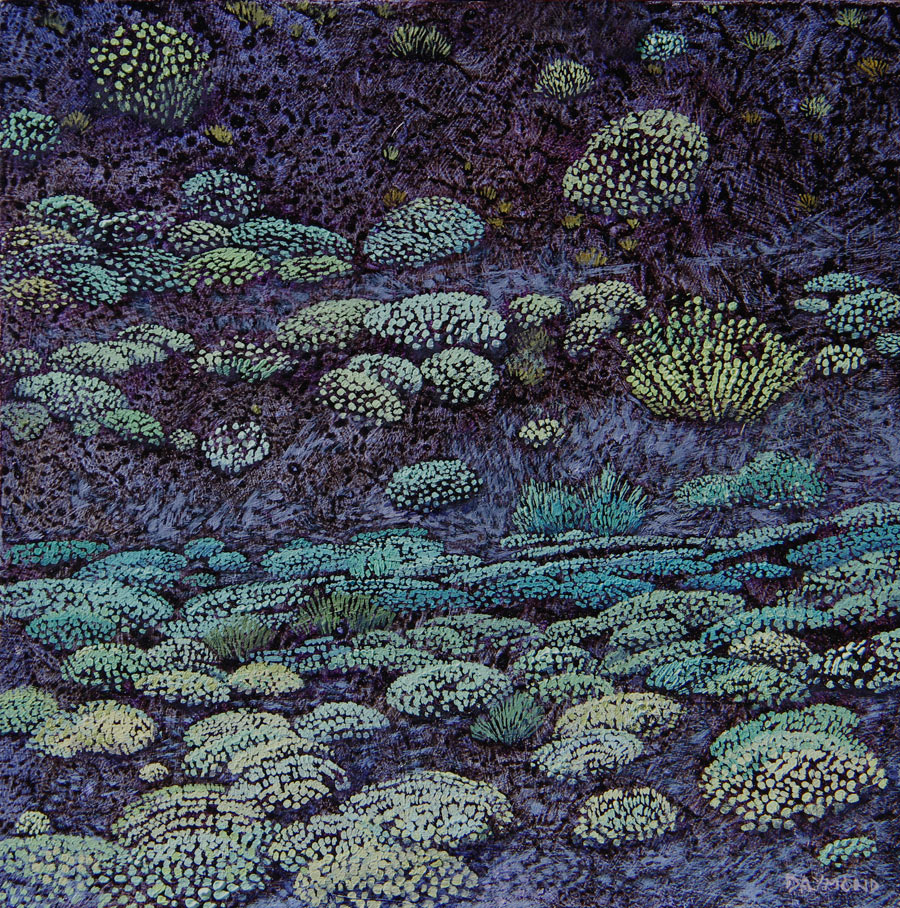Karin Daymond The Day We Walked Up the Volcano I 20 x 20cm oil on board