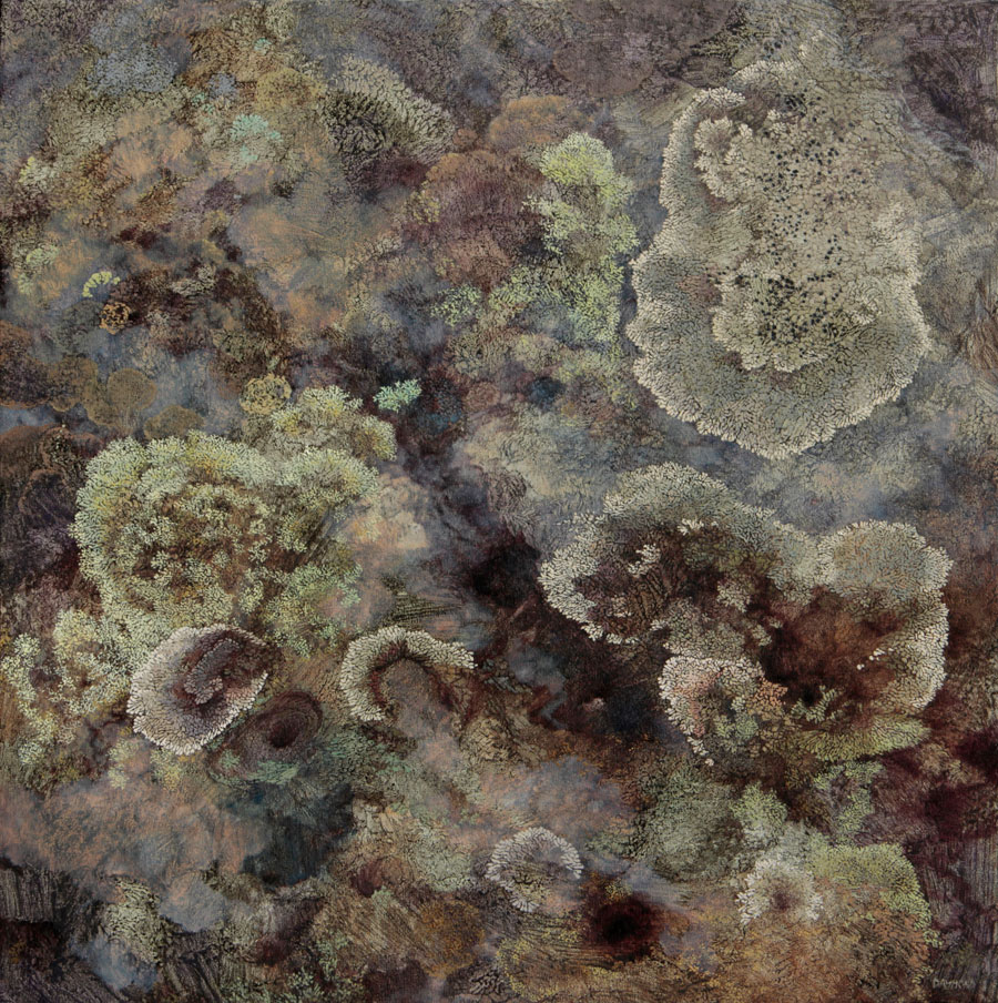 Karin Daymond, Colonized Lichen, oil on canvas, 99 x 100cm