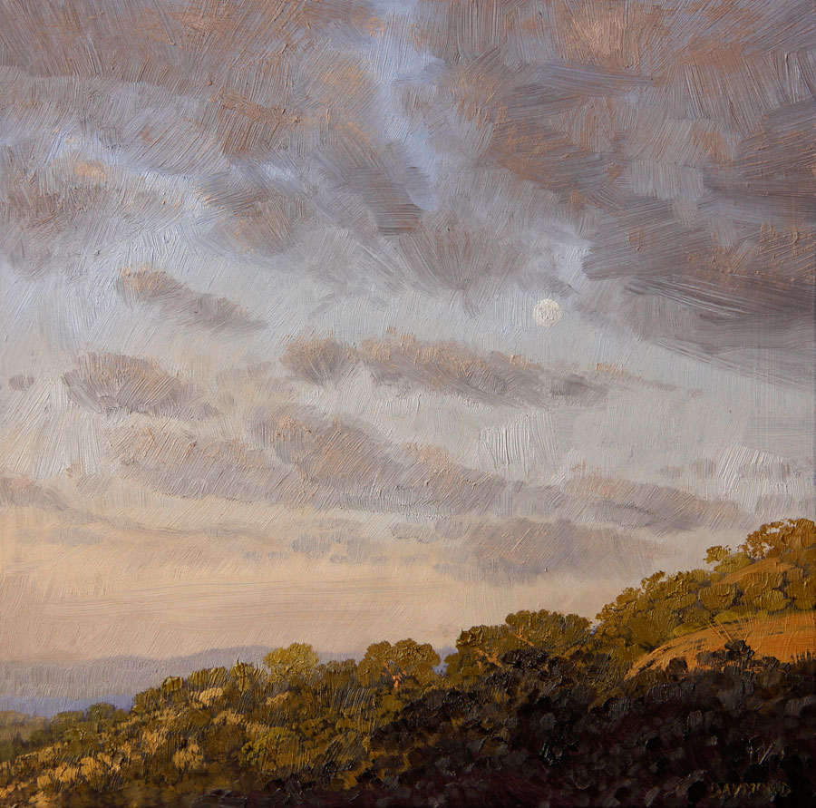 Karin Daymond, Looking East I, Oil on board, 23 x 23cm